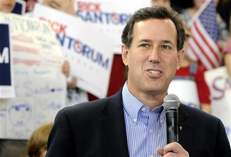 U.S. Republican presidential candidate  Rick Santorum speaks at Peachtree-Dekalb Airport atcampaign rally  in Atlanta, Georgia, March 1, 2012.    REUTERS/Tami Chappell