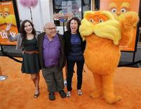 "Cast member Danny DeVito (2nd L) wife Rhea Perlman (2nd R) and daughter Lucy DeVito (L) attend the premiere of the 3-D animated film ""Dr. Seuss' The Lorax"" in Los Angeles February 19, 2012. REUTERS/Phil McCarten"