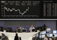 Трейдеры работают на Франкфуртской фондовой бирже, 2 марта 2012 г. Европейские рынки акций открылись снижением в понедельник вслед за США и Азией, после того как Китай объявил о сокращении ориентира роста до минимума восьми лет и на фоне неопределенности, окружающей программу помощи Греции. REUTERS/Sonya Schoenberger