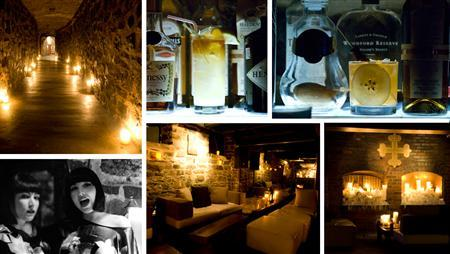 Undated photo collage of cocktail haunt ''Velvet-Speakeasy'' at Auberge St-Gabriel in Montreal, Canada. REUTERS/Handout