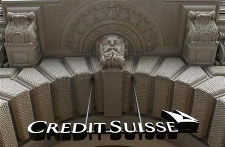 The logo of Swiss bank Credit Suisse is seen at the company's headquarters in Zurich February 9, 2012.  REUTERS/Arnd Wiegmann