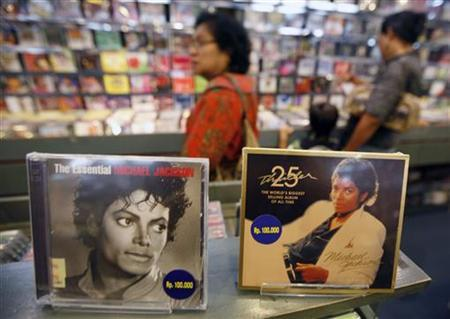Albums of Michael Jackson are displayed at a music shop in Jakarta June 27, 2009. REUTERS/Supri