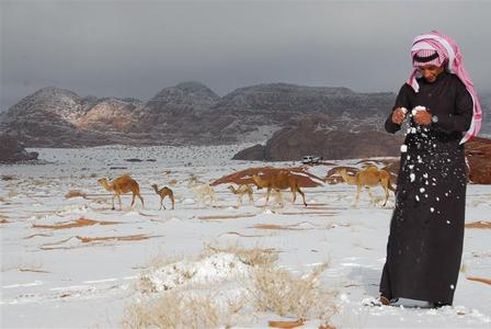 A Saudi man plays with snow after a heavy snowstorm in the desert, near Tabuk, 1500 km (932 miles) from Riyadh, Saudi Arabia March 3, 2012. REUTERS/Mohamed Alhwaity