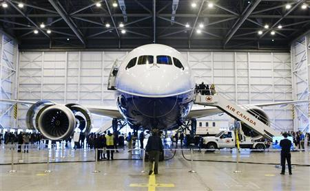 Boeing's 787 Dreamliner aircraft is seen during a media preview at an Air Canada hangar at Pearson Toronto International Airport in Toronto, March 2, 2012. Air Canada has purchased 37 of the Boeing 787 and are to be delivered in 2014.  REUTERS/Mark Blinch