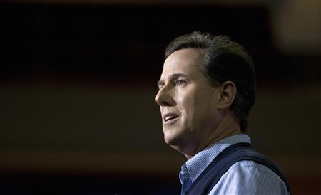 Republican presidential candidate and former Senator Rick Santorum speaks during the Southern Republican Leadership Conference in Charleston, South Carolina in this January 19, 2012 file photo. Santorum's 2012 run for the republican presidential nomination has, so far, resembled his previous political campaigns: swinging from underdog highs to self-defeating lows.  REUTERS/Chris Keane/Files