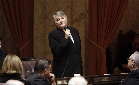 Washington State Republican Rep. Maureen Walsh addresses the house during debate on a bill that she co-sponsored that would legalize gay marriage in the state, in Olympia in this February 8, 2012 file photo.   REUTERS/Robert Sorbo/Files