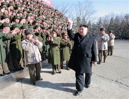 North Korean leader Kim Jong-Un (front R) visits the Command of Large Combined Unit 324 of the Korean People's Army in an undisclosed location in this undated recent picture released by the North's KCNA in Pyongyang February 8, 2012.      REUTERS/KCNA