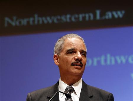 U.S. Attorney General Eric Holder delivers a national security speech regarding the Obama administration's ongoing counter terrorism efforts during his visit to the Northwestern University School of Law in Chicago, March 5, 2012. REUTERS/Jeff Haynes