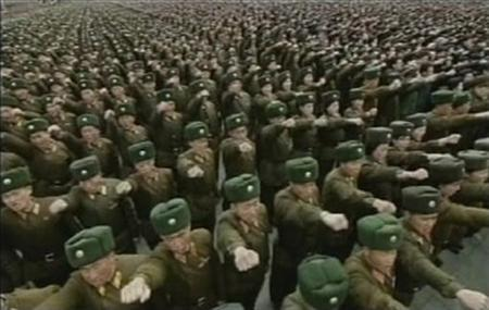 Soldiers take part in an anti-South Korea rally in Pyongyang in this still image taken from video broadcast by North Korean state TV on March 4, 2012. REUTERS/KRT via REUTERS TV