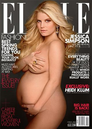 A pregnant Jessica Simpson on the cover of the April issue of Elle magazine. REUTERS/Hearst Magazines/Handout