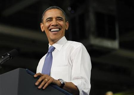 President Barack Obama is pictured as he delivers remarks on energy and the economy at Daimler Trucks North America manufacturing plant in Mount Holly, North Carolina, March 7, 2012.  REUTERS/Jason Reed
