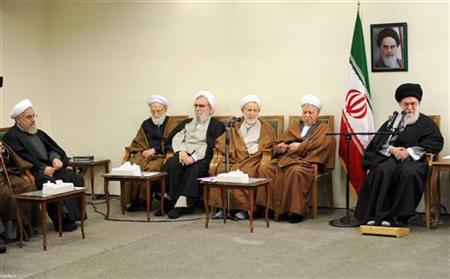 Iran's Supreme Leader Ayatollah Ali Khamenei (R) meets with members of the Assembly of Experts in Tehran March 8, 2012. REUTERS/Khamenei.ir/Handout