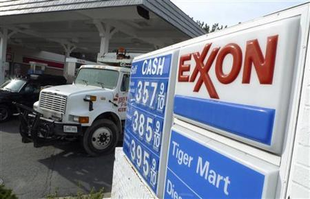 An Exxon gas station is pictured in Arlington, Virginia January 31, 2012. EREUTERS/Jason Reed