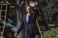 U.S. President Barack Obama waves as he departs the Oval Office for a day trip to North Carolina, from the White House in Washington, March 7, 2012. REUTERS/Jonathan Ernst