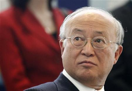 International Atomic Energy Agency (IAEA) Director General Yukiya Amano reacts as he attends a celebration ceremony on occasion of the International Women's Day at the United Nations headquarters in Vienna March 8, 2012. REUTERS/Herwig Prammer