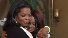 "Oprah Winfrey gives a hug to Bobbi Kristina Brown, daughter of the late singer Whitney Houston, during a March 2, 2012 taping of an interview in Atlanta, Georgia, in this video screen grab released to Reuters March 6, 2012. The interview will be telecast as a special episode of ""Oprah's Next Chapter"" on OWN: Oprah Winfrey Network on March 11, 2012. Winfrey also interviewed the late singer's sister-in-law and manager Patricia Houston and brother Gary Houston for the program. REUTERS/Copyright 2012"