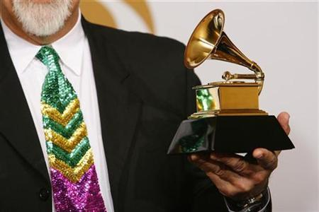 Michael Doucet holds his Grammy after winning Best Zydeco Or Cajun Music Album at the 51st annual Grammy Awards in Los Angeles February 8, 2009. REUTERS/Mario Anzuoni