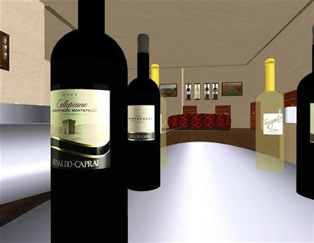 File photo of a computer grab showing wine bottles in the tasting room at the Arnaldo-Caprai vineyard in the virtual world Second Life May 16, 2007. REUTERS/Suzanne Miller