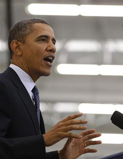 U.S. President Barack Obama speaks about the economy after touring the Rolls-Royce Crosspointe facility in Prince George, Virginia, March 9, 2012. REUTERS/Larry Downing