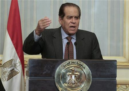 Egypt's army-appointed Prime Minister Kamal al-Ganzouri addresses a news conference at the cabinet headquarters in Cairo February 8, 2012. REUTERS/Mohamed Abd El-Ghany