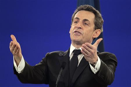France's President Nicolas Sarkozy, candidate for the 2012 French presidential election, delivers his speech during a campaign rally in Villepinte, northern Paris March 11, 2012. REUTERS/Charles Platiau