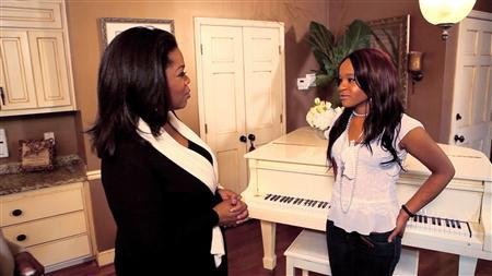 Oprah Winfrey (L) talks with Bobbi Kristina Brown, daughter of the late singer Whitney Houston during a March 2, 2012 taping of an interview in Atlanta, Georgia, in this video screen grab released to Reuters on March 7, 2012. Houston's daughter on March 11, 2012, said she still hears her mom encouraging her ''keep moving, keep going,'' and the pop star's sister-in-law revealed new details of the day Houston died in their first public interviews since the singer's death. REUTERS/Copyright 2012 Harpo, Inc./Handout