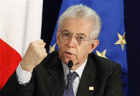 Italy's Prime Minister Mario Monti gestures during a news conference at the end of a European Union leaders summit in Brussels March 2, 2012. REUTERS/Sebastien Pirlet
