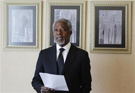 U.N.-Arab League envoy Kofi Annan reads a statement after his meeting with Syria's President Bashar al-Assad in Damascus March 11, 2012. REUTERS/Khaled al-Hariri
