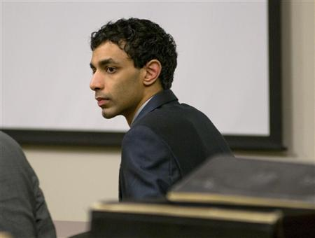 Dharun Ravi, a Rutgers University student charged with bias intimidation, listens to the tesimony of Raahi Grover, a resident assistant at Rutgers during his trial in the Superior Court of New Jersey in Middlesex County, New Brunswick, N.J., February 29, 2012. Ravi was charged with bias intimidation, a hate crime punishable by 10 years in prison; invasion of privacy and tampering with evidence and a witness after he used a webcam to broadcast his roommate Tyler Clementi in a sexual encounter who later committed suicide. REUTERS/ Mark Dye