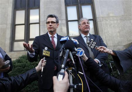 Peter Gleason (L), attorney for Anna Gristina, who has been charged with promoting prostitution, and civil rights lawyer Ron Kuby, who is aiding Gleason, speak with the media outside Manhattan Criminal Court in New York March 12, 2012. REUTERS/Allison Joyce