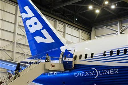 The tail of Boeing's 787 Dreamliner aircraft is seen during a media preview at an Air Canada hangar at Pearson Toronto International Airport in Toronto, March 2, 2012. REUTERS/Mark Blinch