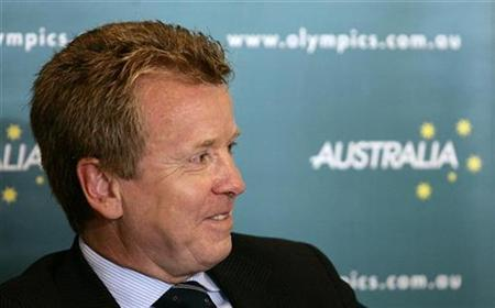 Lord Colin Moynihan, chairman of the British Olympic Association, smiles during a news conference in central Sydney September 29, 2008. Moynihan announced he is sending his biggest team ever, over 200 athletes and officials, to the Australian Youth Olympic Festival in January as Britain prepares to host the 2012 Olympic Games in London. REUTERS/Daniel Munoz (AUSTRALIA)
