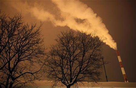 Steam and other emissions rise from a power station in Belgrade February 7, 2012, as icy weather continues across Europe. REUTERS/Marko Djurica