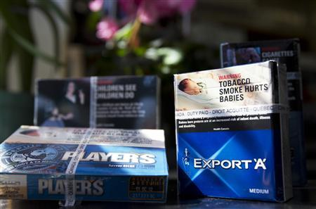 Cigarettes are seen in this picture illustration taken in Montreal, March 11, 2012. Canada's three main tobacco companies are headed to Quebec court on Monday, in a C$27 billion tobacco lawsuit, the largest civil case in Canadian history. REUTERS/Christinne Muschi
