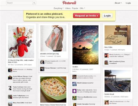 A screen grab of the home page of Pinterest.com. The social site where users can ''pin'' images and follow others' collections has surged in recent months to become the 16th most-visited site in the United States, according to the Web information company Alexa. REUTERS/Pinterest/Handout