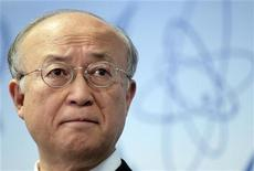 "International Atomic Energy Agency (IAEA) Yukiya Amano reacts as he attends a board of governors meeting at the United Nations headquarters in Vienna March 5, 2012. The United Nations nuclear watchdog chief said on Monday there were indications of ""activities"" taking place at an Iranian military site which his inspectors want to visit as part of an investigation into Tehran's atomic activities. REUTERS/Herwig Prammer"
