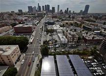 Solar panels are seen in the parking lot of 1929 building Walter J Towers, near downtown Los Angeles, California August 26, 2011. REUTERS/Lucy Nicholson