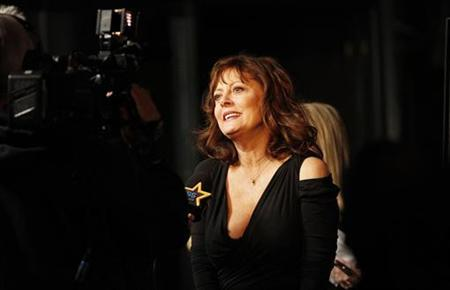 Cast member Susan Sarandon is interviewed at the premiere of ''Jeff, Who Lives at Home'' at the Directors Guild of America theatre in Los Angeles, California March 7, 2012. REUTERS/Mario Anzuoni