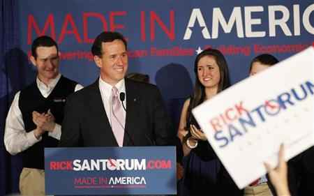 Republican U.S. presidential candidate and former U.S. Senator Rick Santorum speaks to supporters at his Alabama and Mississippi primary election night rally in Lafayette, Louisiana, March 13, 2012. REUTERS/Mike Stone