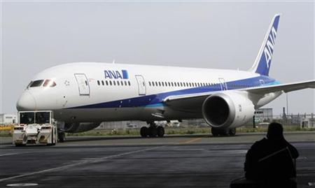 A Boeing 787 Dreamliner aircraft for All Nippon Airways (ANA) is seen at a media briefing event at Haneda airport in Tokyo July 4, 2011. REUTERS/Toru Hanai