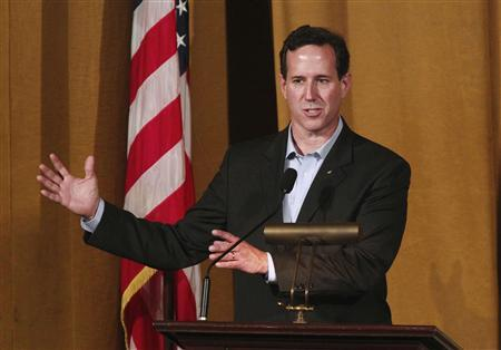 U.S. Republican presidential candidate Rick Santorum addresses the Alabama Republicans forum at the Alabama Theater in Birmingham, Alabama March 12, 2012. REUTERS/Marvin Gentry