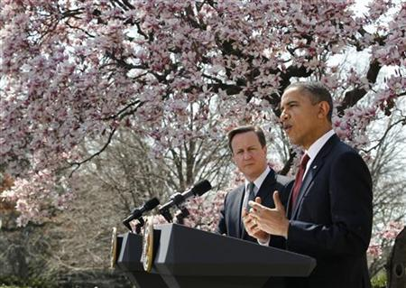 U.S. President Barack Obama speaks as he hold a joint press conference with British Prime Minister David Cameron in the Rose Garden of the White House in Washington, March 14, 2012. REUTERS/Jason Reed