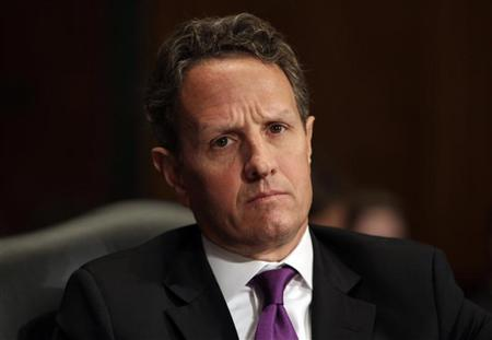 U.S. Treasury Secretary Timothy Geithner testifies before the Senate Finance Committee hearing on the President's FY2013 Budget on Capitol Hill in Washington, February 14, 2012. REUTERS/Yuri Gripas