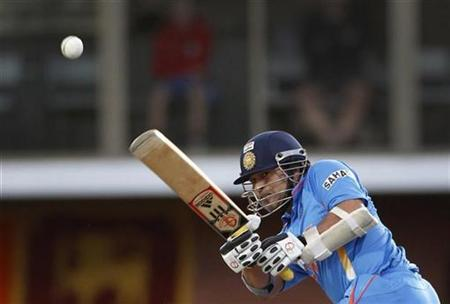 India's Sachin Tendulkar plays a shot during their Tri-series one-day international cricket match against Sri Lanka at Bellerive Oval in Hobart February 28, 2012. REUTERS/Tim Wimborne