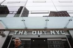 "A pedestrian walks past the outside of The Out, a newly opened resort hotel in New York March 1, 2012. According to Ian Reisner, managing partner of Parkview Developers, the resort will be the first ""straight friendly gay resort"" in the city. REUTERS/Lucas Jackson"