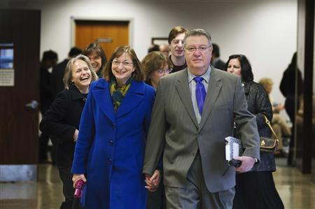 Tyler Clementi's parents Jane and Joe Clementi arrive to wait for a verdict in the bias intimidation trial of former Rutgers University student Dharun Ravi at the Superior Court of New Jersey in Middlesex County, New Brunswick, New Jersey March 16, 2012. REUTERS-Lucas Jackson