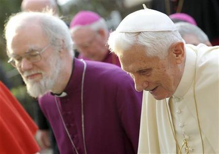 Pope Benedict XVI (R) arrives with Archbishop of Canterbury Rowan Williams to celebrate the Vespers at San Gregorio al Celio Basilic in Rome March 10, 2012. REUTERS/Ettore Ferrari/Pool