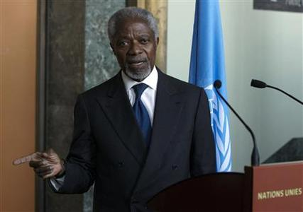 Joint special envoy on Syria for the United Nations and the Arab League Kofi Annan, gives a statement after his address to the Security Council in New York by videolink at the United Nations headquarters in Geneva March 16, 2012. Annan said on Friday the situation in the country needed to be handled ''very, very carefully'' to avoid an escalation that would destabilise the region. REUTERS/Denis Balibouse