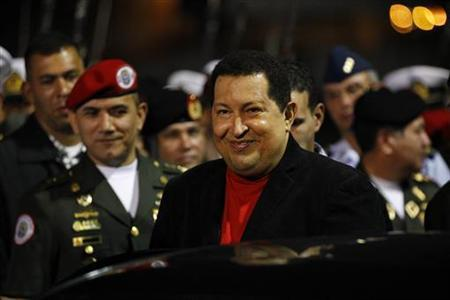 Venezuela's President Hugo Chavez arrives at Simon Bolivar airport in Caracas March 16, 2012 as he returns from Cuba. REUTERS/Jorge Silva