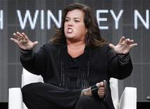 "Host Rosie O'Donnell answers a question during the OWN session for ""The Rosie Show"" at the 2011 Summer Television Critics Association Cable Press Tour in Beverly Hills, California July 29, 2011. REUTERS/Mario Anzuoni"